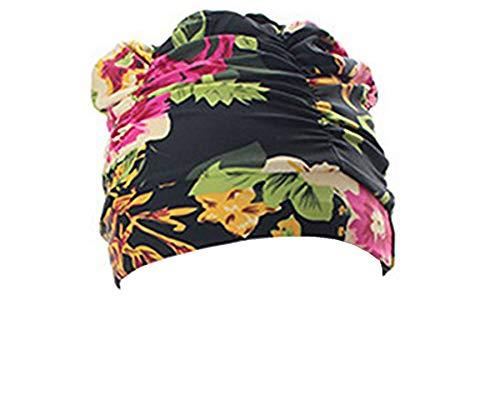 Amorar Badehaube Damen Lange Haare Schwimmkappe Spa-Badekappe Schwimmen Hut Drucken Nylon Bademütze Schwimmhaube Plissee Design,EINWEG Verpackung