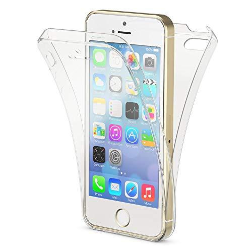 NALIA 360 Grad Hülle kompatibel mit iPhone 5 / 5S / SE, Dünne Full-Body Silikon Handyhülle Rundum Cover Case, Ultra-Slim Schutzhülle Handy-Tasche, Phone Komplett-Schutz & Displayschutz - Transparent