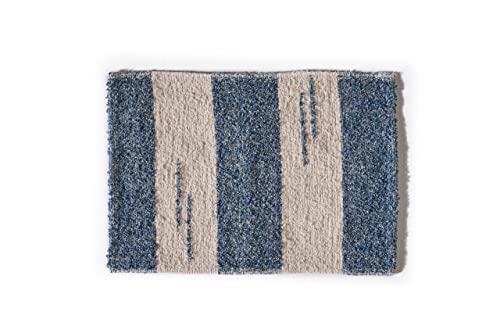 Alfombra baño para ducha y exterior, de algodón suave muy absorbente, fabricada a mano en España, artesanal, lavable en lavadora y secado rápido (Azul Andina)