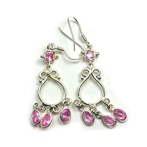 Jewelryonclick - Pendientes de plata de ley con circonitas cúbicas rosadas para mujer, con gancho trasero hecho a mano, para curación de chakras