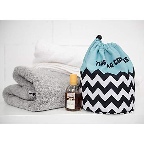 HOYOFO化粧ポーチ巾着大容量コスメ収納洗面用具化粧品小物入れおしゃれ筒形旅行ブルー波プレゼントお返し