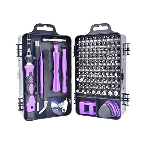 Hainice 115 en 1 Juego de Destornilladores Destornillador bit Kit multifunción de precisión de reparación de teléfonos Dispositivo de Herramientas de Mano Torx Hex púrpura
