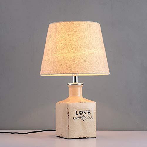 LIEBE Beschriftung Tischlampe Europäischen Land Keramik Tischlampe Schlafzimmer Nacht Hochzeitsdekoration Stoff Schreibtisch Licht Energiesparende Augenschutz Personalisierte Mode Desktop Beleuchtung