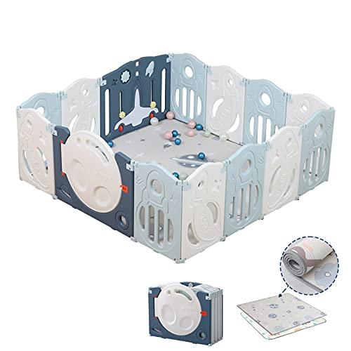 Bamitus - Parque de Juego para Bebe Plegable, Nuevo Panel Extra Grande, Parque Infantil de Plástico, Barrera Seguridad, Corralito (Espacio Azul, 160x160 cm)