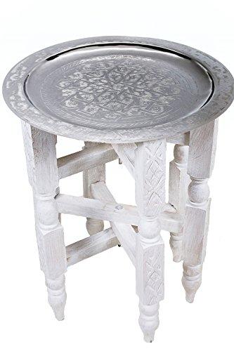 Marrakesch Orient Mediterran Interior Marokkanischer Klapptisch Couchtisch Tisch Samira - Silberfarbig 40cm