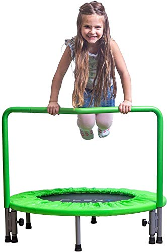Woodtree 36' Kids Mini Trampoline with Handle, Safety and Durable Toddler Trampoline - 3 Colors Available,Colour:Navy Blue (Color : Apple Green)