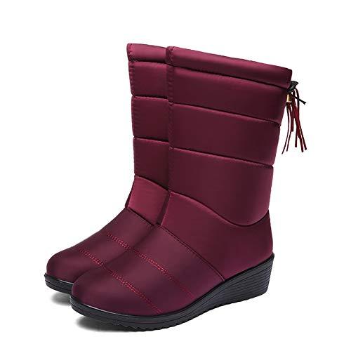 Botas de Nieve Zapatos Mujer,Popoti Botas de Nieve Calientes Botines Forradas Cortas Cuña Boots Medias Borla Zapatos Invierno Outdoor Botines (Rojo Vino-A, 40)