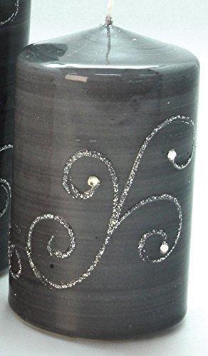 dekojohnson Gilde Cirio Navidad Vela Decorativa Gris con Adornos Plateados, 11x 7cm