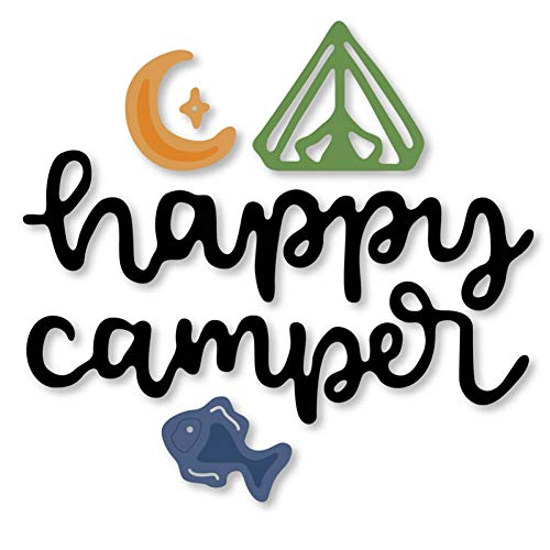Pixiey Stanssjabloon voor knutselen, handwerk, Meurt Happy Campes Moon vis metaal uitsteker sjabloon voor knutselen scrapbooking kaarten, matrijsen met reliëf
