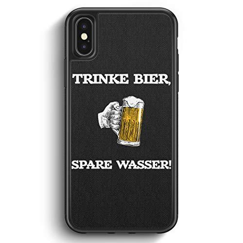 Trinke Bier - Spare Wasser - Silikon Hülle für iPhone X - Motiv Design Spruch Jungs Männer Lustig Witzig Cool - Cover Handyhülle Schutzhülle Hülle Schale