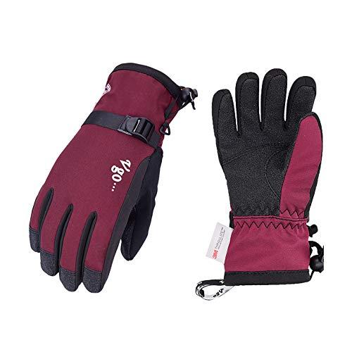 Vgo... 1-Par -20℃ Guantes de Esquí y Snowboarding, Forro 3M G80 Palma de PVC para Adolescente (8/M, Rojo, PVC2460FW)