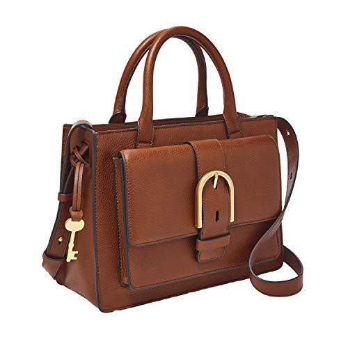 Fossil Women's Wiley Leather Satchel Handbag, Brown