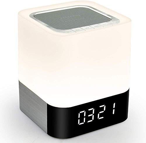 Reloj, Despertador de cabecera, Altavoz Bluetooth Inteligente, Linterna LED Bluetooth inalámbrica, Sensor táctil, Luz Nocturna, Audio
