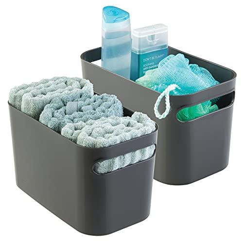 mDesign contenitore bagno – cesto bagno per cosmetici shampoo, lozioni, profumo – ideale portaoggetti bagno – ottimo come portasciugamani – set da 2 – colore: grigio