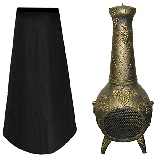 Zulfiqar Garden Large Chimenea Covers Patio Heater Cover Waterproof Windproof Polyester Outdoor Stove Protector Outside Dust Covers Durable Rip Proof Black 122 * 21 * 61CM
