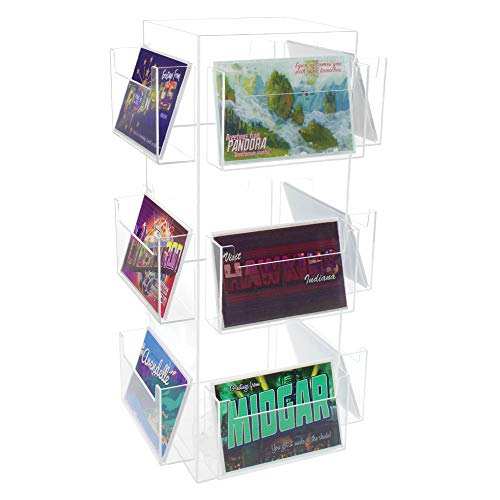 """SOURCEONE.ORG Clear Acrylic 12 Pocket Postcard Rotating Display, 6"""" x 4"""""""