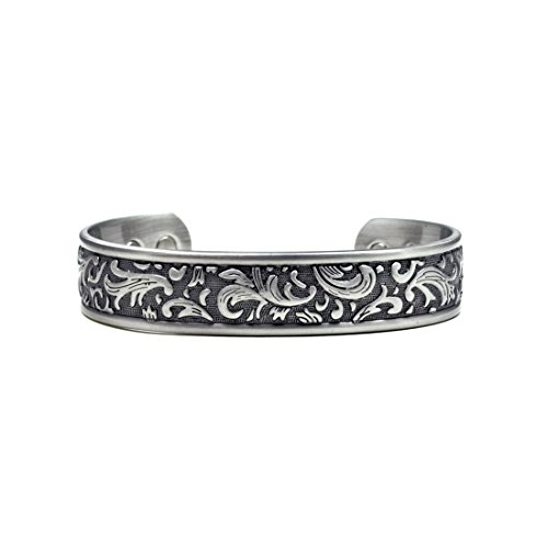 Accents Kingdom Silver-Tone Paisley Design Magnetic Therapy Bangle Golf Bracelet