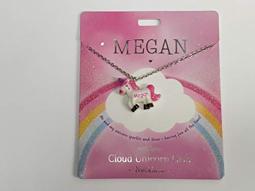 Megan Named Unicorn Necklace Name Written on Unicorn Presented by Sterling Effectz