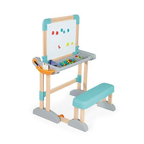Smoby - Pupitre transformable de madera escritorio o caballete, 80 accesorios (Smoby 420301)
