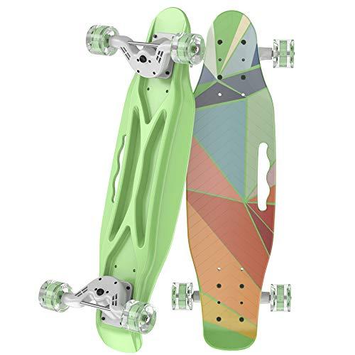 OLEIO Mini Cruiser Skateboard, 58,1 cm, Kunststoff, klassisches Mini-Skateboard, mit biegbarem Deck und glatten bunten PU-Rädern, Cruiser-Board für Kinder, Jungen, Mädchen, Jugendanfänger