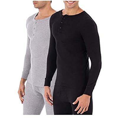 Fruit of the Loom Men's Classic Midweight Waffle Thermal Henley Top (X-Large, Black/Grey 2 Pack)