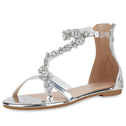 SCARPE VITA Damen Sandalen Riemchensandalen Strass Sommerschuhe Metallic Flats Transparente Schuhe Flats 193368 Silber 38