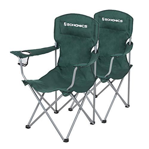 SONGMICS Campingstuhl, 2er-Set, klappbar, komfortabel, Klappstuhl mit robustem Gestell, bis 150 kg belastbar, mit Flaschenhalter, Outdoor Stuhl, dunkelgrün GCB08GN, XL