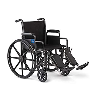 """Medline Comfort Driven Wheelchair with Removable Desk Arms and Elevating Leg Rests, 18"""" Seat (B08KSKY8M1) 