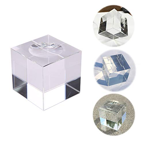 Pedobo Crystal Ball Stand for 80mm (3.15) Crystal Ball, Lensball - Cube Clear Crystal Display Stand