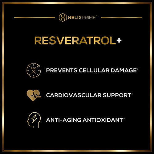 41Tqfvaq6CL - Resveratrol Supplement with Trans Resveratrol HELIX PRIME 1200mg Per Serving in 60 Capsules Vegetarian Antioxidant Promotes Anti Aging