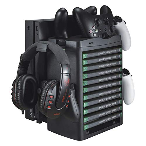 Camidy Soporte de Torre de Almacenamiento de Juegos Estación de Enfriamiento de Consola de Juegos Multifunción