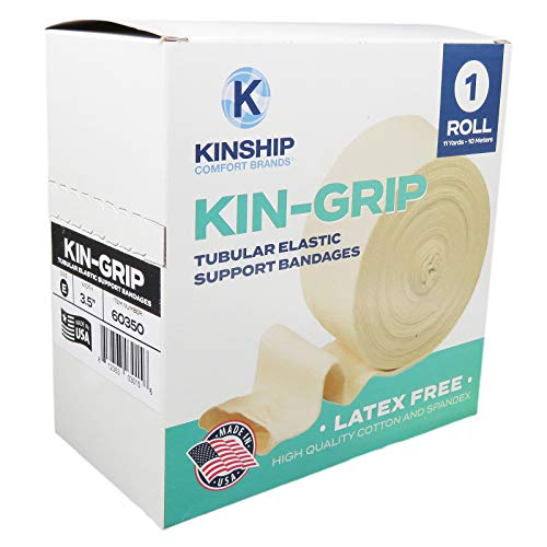 KinGrip Cotton Spandex Tubular Elastic Support Wound Care Bandages Size E (See Size Chart) | Kinship Comfort Brands. Protect Soft, Fragile Skin. Made in USA (Available in Sizes B,C,D,E,F,G)