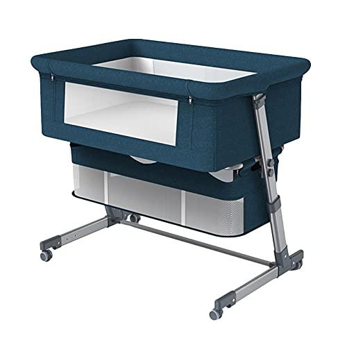 XYSQ Deluxe Cuna Colecho Bebe con Una Gran Cesta De Almacenamiento Altura Ajustable Colchón Desmontable Y Malla Transpirable Ventilación (Color : Blue)