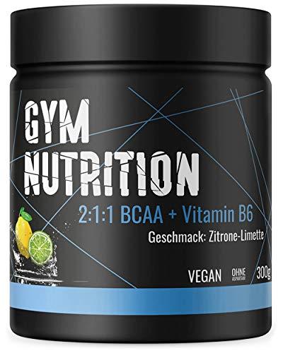 BCAA + Vitamin B6 hochdosiertes Pulver - Leucin, Isoleucin, Valin 2:1:1 - in deutscher premium Qualität - Vegan (Zitrone-Limette)