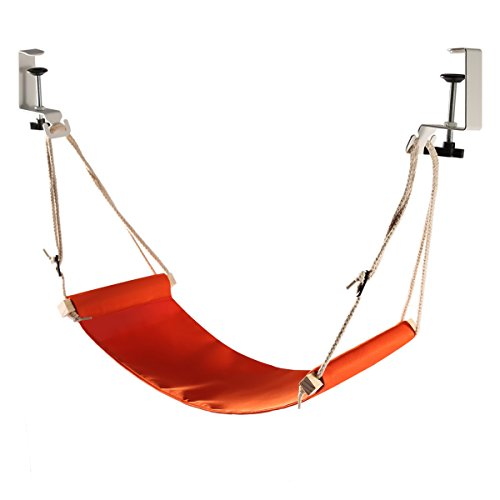 Portable Office Foot Rest Adjustable Durable Strap Foot Hammock Fixed Firmly Desk Foot Rest Airplane Traveling(Orange)