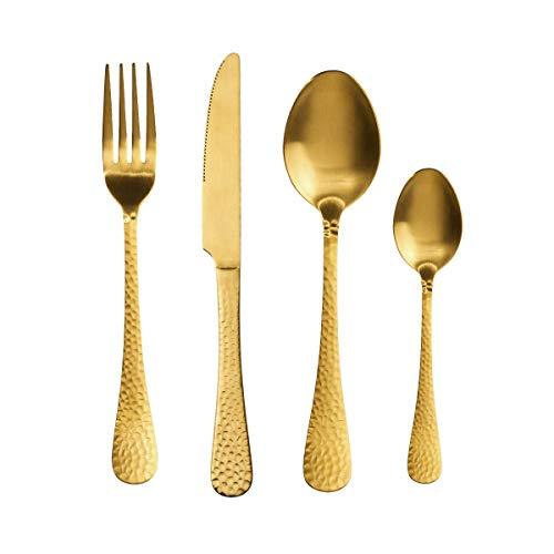 BUTLERS Baronet Besteck 4er-Set - Hochwertige Besteckgarnitur, Gold - Essbesteck mit Messer, Gabel, Löffeln - Edelstahl