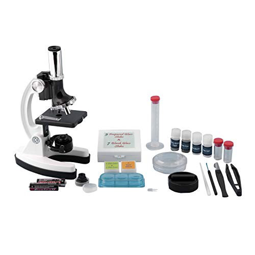 Pearington Kids Beginner Metal Microscope Set- Kid's Stem Toys, Educational Gifts, Science Kits- 58 Piece Accessory Kit and Case- with LED Light; 120X, 240X, 300X, 480X, 600X, and 1200X Magnification