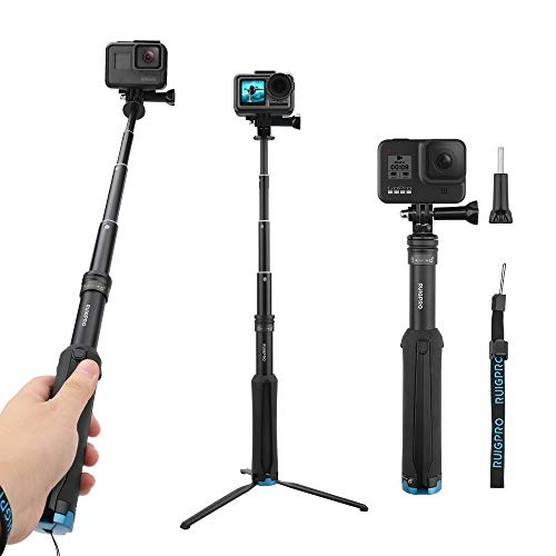 AFAITH Impermeable Selfie Palo de aleación de Aluminio Hand Grip Telescópico Handheld Monopod para GoPro Hero 4/5/6/7, iPhone 7/7 Plus / 6s Plus / 6s / 6, Samsung Galaxy S8 S7 and Smartphones GP073