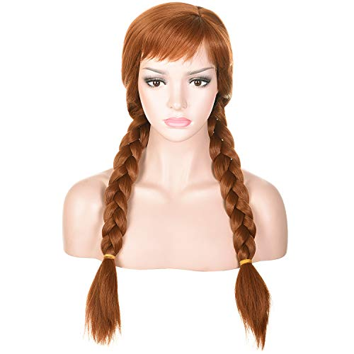 Morvally Women's Light Brown Wigs with Two Long Braided Pigtails for Woman Cosplay, Halloween, Costume, Party