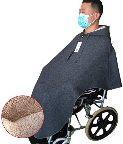 YQJ Rollstuhl Mantel-Rollstuhl Cape Decke, Warme Decke Mantel Schulter Decke, Samt Dicke Kleidung, Rollstuhl Cape Wenn Ausgehen in Herbst und Winter (XL,Blue)