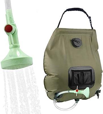 Camping Shower Solar Shower 20L Shower Bag Solar Heating Camping Shower Bag with Shower Head & On-Off Switchable, Garden Shower Pool Shower Hot Water Shower, Outdoor Camping Hiking Water Bag