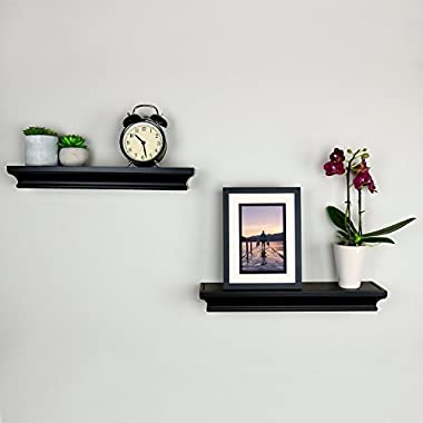 Ballucci Classic Floating Wall Shelves, Set of 2, 16 Inch, Black