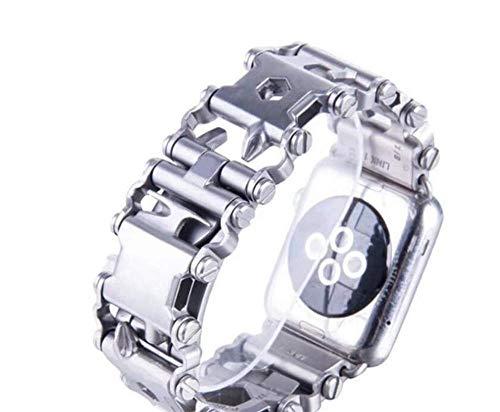 L@LILI Correas de Acero Inoxidable compatibles iWatch 38/40/42/44 mm Reloj Apple Serie 4/3/2/1 Repuesto Mariposa botón Plegable Broche de Mariposa,Silver,38mm