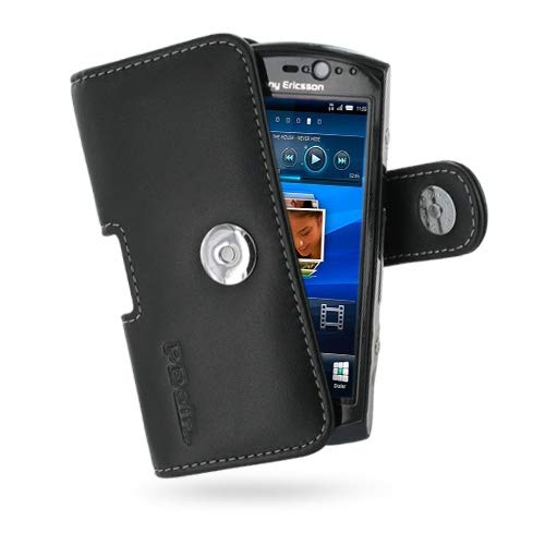 PDair Handarbeit Leder Hülle - Leather Horizontal Pouch Case with Belt Clip for Sony Ericsson Xperia Neo/Neo V (Black)