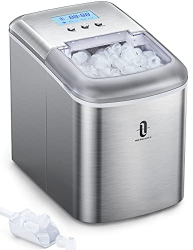 Ice Maker Countertop Machine Taotronics with LCD Display Self-Cleaning Function, Make 26 lbs ice in 24 hrs, Ice Cube Rready in 6-8 Mins with Ice Scoop and Basket for Home/Office/Bar