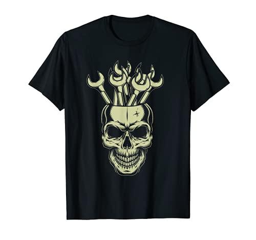 Cráneo Llave Inglesa Mecánico Garaje Mecánico Auto Puesta Camiseta