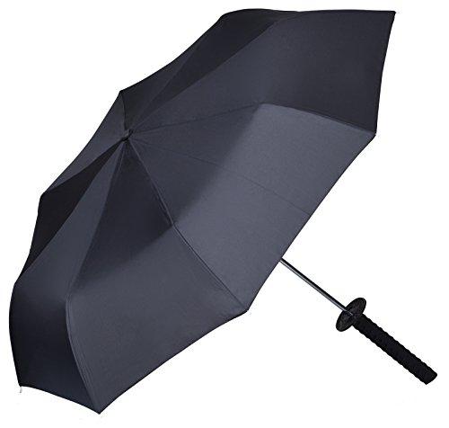 Regenschirm im Ninja Schwert Design - Schwarz 90 cm Durchmesser - Gadget Taschenschirm als Geschenkidee - Grinscard