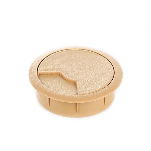 sossai® Kabeldurchführung KDM2 (8 Stück) | Kabeldurchlass/Schreibtischkanal für Schreibtische, Büro & Arbeitsplatten | Farbe: Buche | Durchmesser: 60 mm | Material: Kunststoff