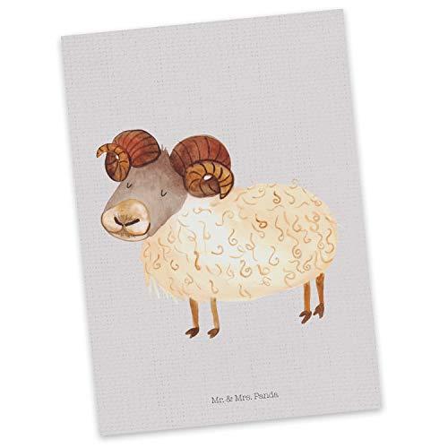 Mr. & Mrs. Panda kaart, wenskaart, Ansichtkaart sterrenbeeld Ram - Kleur Grijze Pastel
