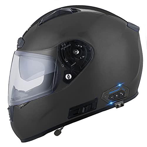 NAINAIWANG Casco Bluetooth Motocicleta Intercomunicador Integrado Cara Completa Cascos Moto modulares choques con visores Dobles Aprobado Dot ECE por Voz Llamada Manos Libres MP3 FM
